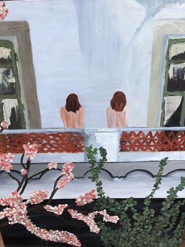 """Nudes On Balcony"" 2002, By American Artist Anne Lane Oil 36x24"""