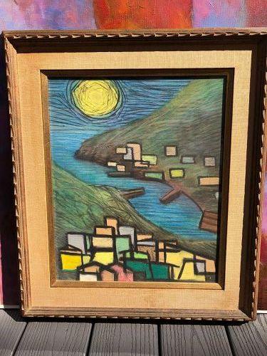 Cubist Sun Landscape Of Haifa oil on paper unsigned