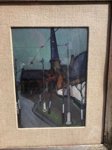 """Austrian Townscape in oil Circa 1890 Signed Kirk Hierghuss 16x12"""""""