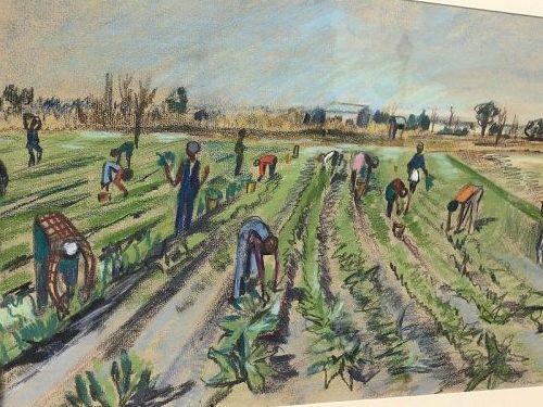 """Piece Work For The Plantation"" Circa 1930s By Ada V.Gabriel Pastel"