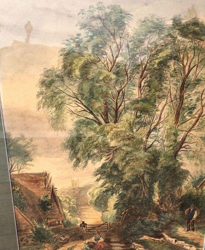 "Nineteenth Century Watercolor Landscape Signed J.H. 1879 24x19"" Amer."