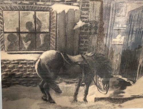 """""""American Ashcan School"""" Painting Signed """"Lucy"""" 19x24"""" charcoal 1910s"""