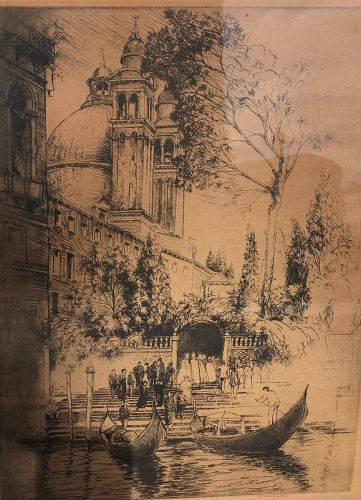 Canadian Artist Donald Shaw MacLaughlan Etching Signed  1876-1938