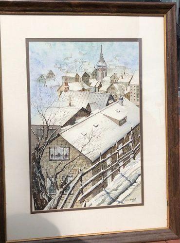 """Zermatt Townscape"" Swiss Watercolor By Artist Julia Barnhart 26x20"""