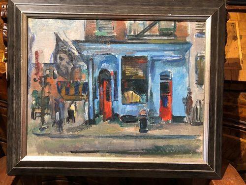 """American NRA Artist Manfred Schwartz 1909-1970 """"Soho"""" oil 18x22"""""""