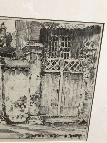 """Cottage Entrance"""" By Artist Alfred Huntley Graphite Drawing signed"""