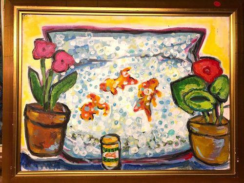 """Fish Food"" Still Life By Anne Lane American Artist, Oil 16x20"""