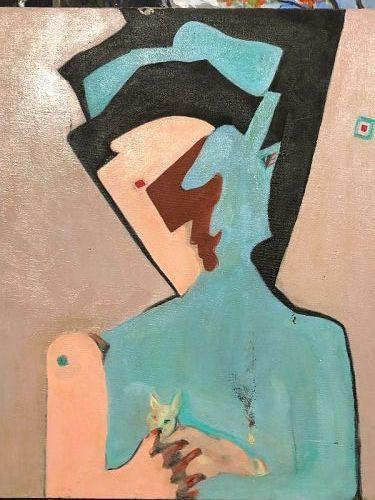 "Max Kassler  American Master Artist ""Abstract Man"" Oil 20x18"