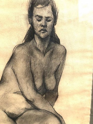 """Nude Study In Charcoal By G.Seitz Dated 1953 24x16"""""""