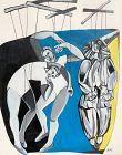 "Anne Lane ""Acrobats"" Acrylic on paper 16x13"""