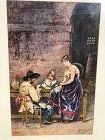 """Auguste Hirsch French 1833-1912 """"Card Players"""" watercolor signed20x13"""""""