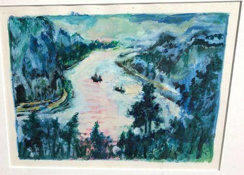"Glenn Pizer American Artist Rhine River Oil 23x26"""