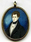 Wonderful American Miniature Painting  c1825
