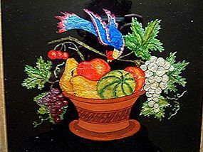 Rare American Tinsel Painting of Fruit   c1875
