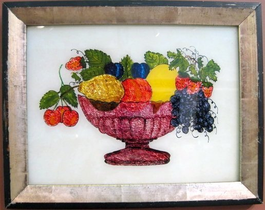 Foil Painting of Fruit Rare American Piece c1875