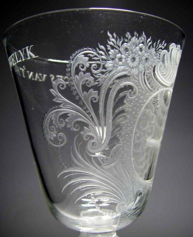 A Fine Engraved Composite Stem Marriage Goblet c1755