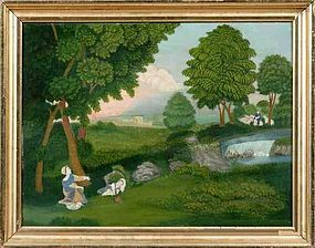 A Wonderful American Idyllic Folk Art Painting   c1840