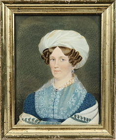Fine American Portrait of Woman  c1820