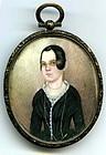 Rare Folky Miniature Portrait Painting  c1840