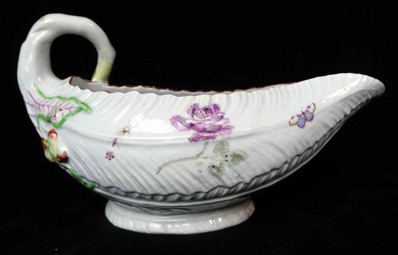 Early Dr. Wall First Period Worcester Sauce Boat  c1755