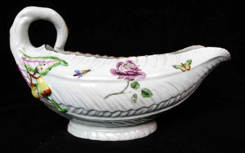 A Worcester Sauce Boat, Early and Superb  c1755