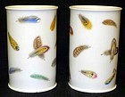 Worcester Porcelain Feather Decorated Vases  c1835