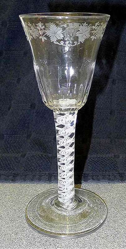 Engraved Georgian Wine Glass Opaque Twist c1760