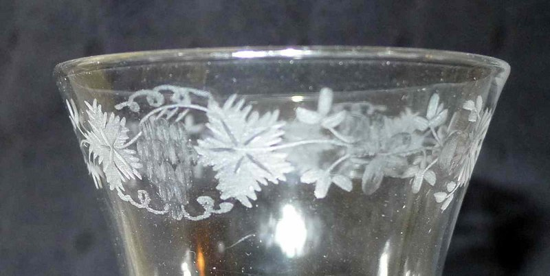 Engraved Georgian Wine Glass Opaque Twist c1760