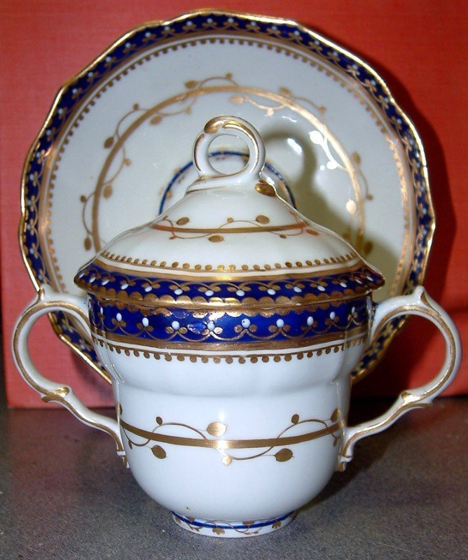 Derby Chocolate Cup and Saucer, Puce Mark c1790