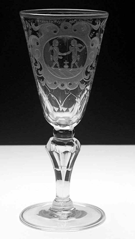 Large German Friendship Wine Glass Goblet c1780
