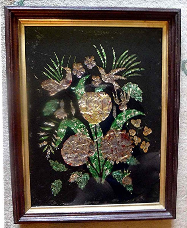 Fine Tinsel Foil Reverse Painting on Glass 19th Century