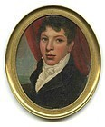 American Miniature Portrait Oil on Copper c1810