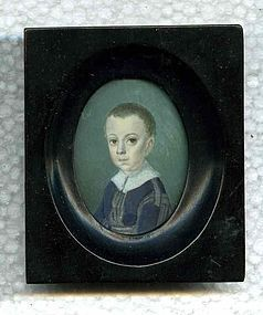 Joseph Saunders Miniature Painting of a Boy c1790