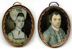 Rare Joseph Dunkerley Pair of Miniature Portraits c1780