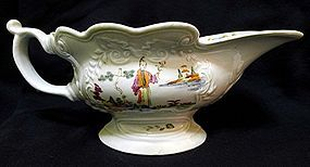 Scratch Cross Worcester Porcelain Sauce Boat c1753