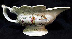 Scratch Cross Worcester Porcelain Sauce Boat c1753