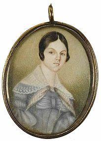 Fine American Portrait Miniature c1835