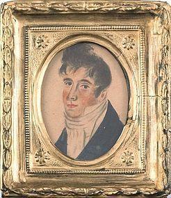 A Folksy American Miniature Portrait of a Gent c1810