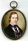 Striking American Miniature Portrait of Gent c1840