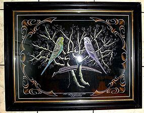 Incredible Signed Calligraphy of Two Birds c1870