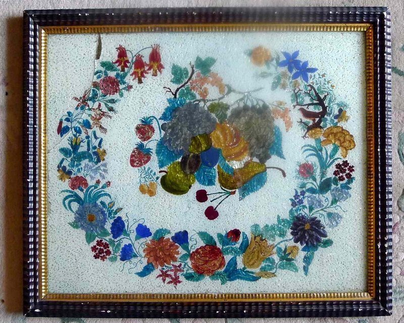"""A Large """"Snowflake"""" Tinsel Painting c1875"""