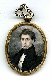 American Gold Case Miniature Painting of Young Man c1835