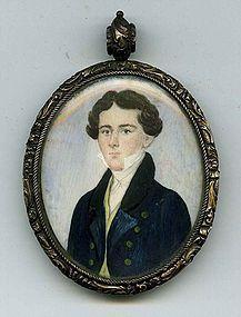 Folksy American Miniature Portrait c1820