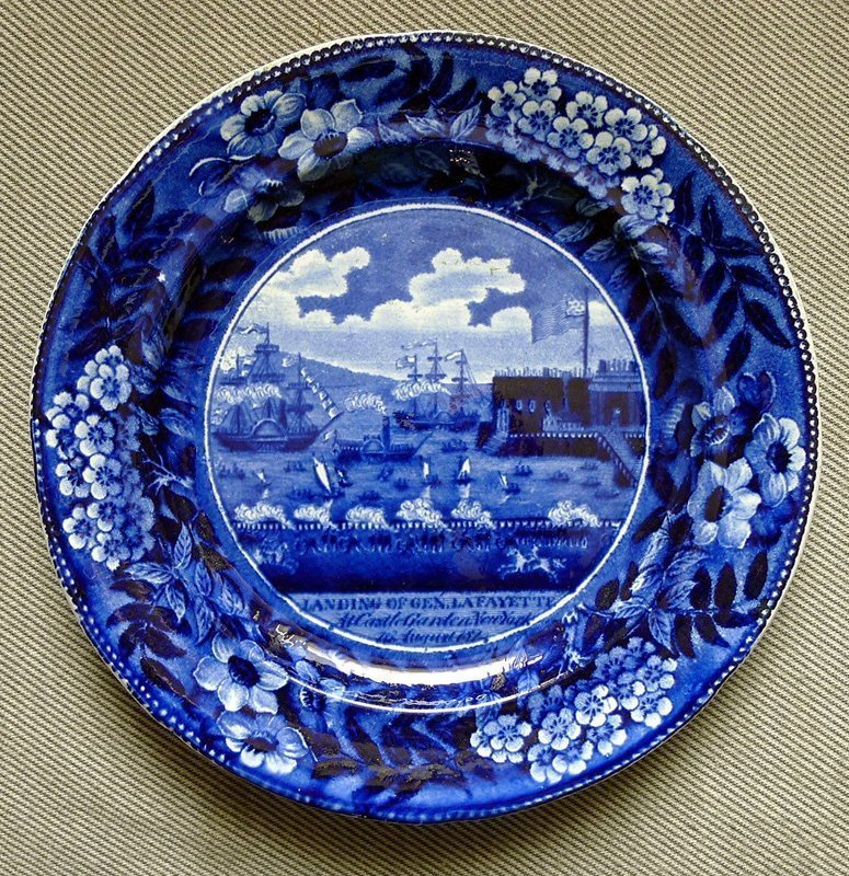 Landing of Lafayette Staffordshire Plate c1830