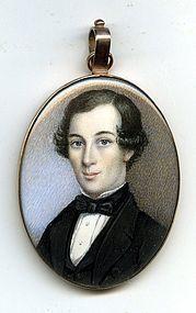 A Fine American Miniature Portrait Painting c1837