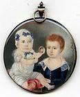 Charming Miniature Portrait of Two Children, Signed  c1830