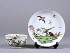 Very Rare Chelsea Porcelain Tea Bowl and Saucer c1755