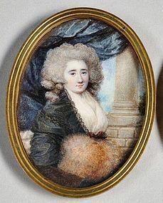 Superb Miniature Portrait Painting by Sophia Howell c1786