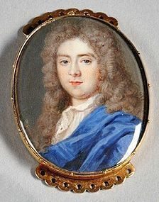 A Fine and Early Miniature Portrait in Gold Slide Case, English c1720