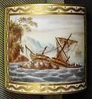 George Robertson Ship Scene Derby Porcelain Can c1795 - 1797